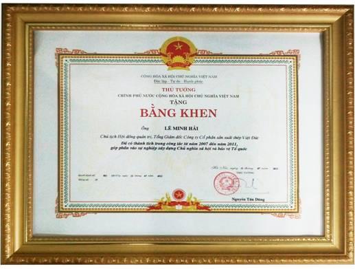 Ông Lê Minh Hải vinh dự được Thủ tướng Chính phủ tặng bằng khen